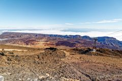 Widok od wagonu kolei linowej Mt Teide, _Tenerife, Hiszpania Zdjęcie Stock