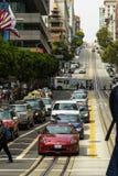Widok od wagonu kolei linowej ulicy San Fransisco Zdjęcie Royalty Free