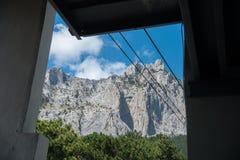 Widok od wagonu kolei linowej wierzchołek góra Petri Obraz Royalty Free