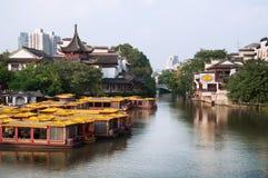 Widok od Wende mosta, Confucius Świątynny Sceniczny teren, Nanjing, Chiny Zdjęcia Stock