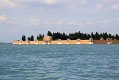 Widok od Wenecja laguny na ścianie cmentarniana wyspa San Michele, Wenecja, Włochy Zdjęcie Royalty Free