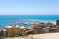 Widok od wierzchołka, port Sciacca, Sicily, Agrigento Fotografia Royalty Free