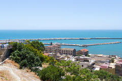 Widok od wierzchołka, port Sciacca, Sicily, Agrigento Zdjęcia Royalty Free