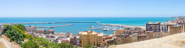 Widok od wierzchołka, port Sciacca, Sicily, Agrigento Fotografia Stock