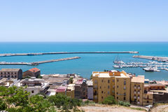 Widok od wierzchołka, port Sciacca, Sicily, Agrigento Obraz Royalty Free