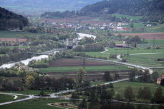 Widok od Wolfsberg blisko Dietfurt w Niemcy Ottmaring może widzieć Obraz Royalty Free