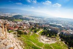 Widok od wysokiego punktu Theatro Dionisou w Ateny Zdjęcia Stock