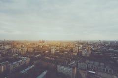 Widok od wysokości above wielkomiejski miasto zdjęcia royalty free