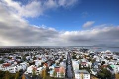 Widok od wysokości miasto Reykjavik zdjęcia royalty free