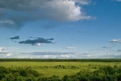 Widok od wzgórzy dolina z rzadkimi chmurami Obrazy Stock
