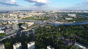 Widok od wzrosta miasto Moskva rzeka i zdjęcie wideo
