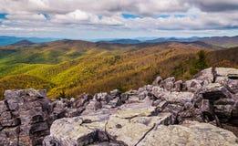 Widok od zakrywającego szczytu Blackrock w Shenandoah parku narodowym Zdjęcie Royalty Free