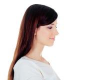 widok odizolowywający nad bielem piękna młoda kobieta zdjęcia stock