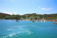 Widok łodzie przy schronieniem w Russell, Nowa Zelandia Zdjęcie Royalty Free