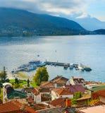 Widok Ohrid Stary miasteczko jezioro i macedonia zdjęcie stock