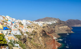 Widok Oia na Santorini wyspie i część kaldera Obrazy Royalty Free