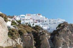 Widok Oia spod spodu, piękna wioska na powulkanicznej wyspie Santorini Obrazy Royalty Free