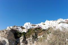 Widok Oia spod spodu, piękna wioska na powulkanicznej wyspie Santorini Zdjęcie Royalty Free