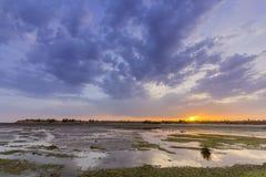 Widok Olhao solankowego bagna wpusta nabrzeże Ria Formosa naturalny park Algarve Obrazy Stock