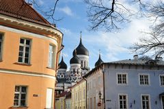 Widok Ortodoksalna katedra Aleksander Nevsky w Tallinn Obraz Stock