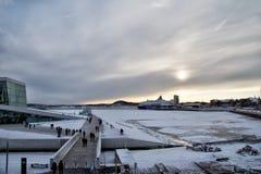 Widok Oslo w zima czasie Obraz Royalty Free