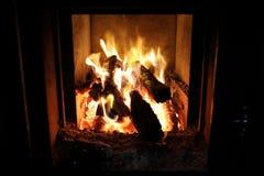 Widok płonący drewno zdjęcia royalty free