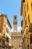 Widok Palazzo Vecchio od Florencja miasta ulic Zdjęcia Royalty Free