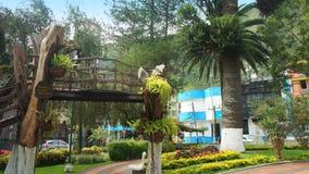 Widok Palomino Flores park w śródmieściu miasto Banos lokalizuje na północnych pogórzach Tungurahua wulkan Zdjęcie Stock