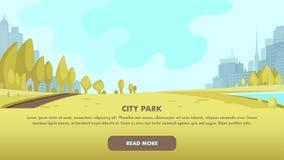 Widok panoramy miasta parka centrum Duża metropolia royalty ilustracja