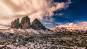 Widok park narodowy Tre Cime Di Lavaredo, dolomity, południe Fotografia Stock