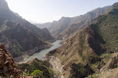 Widok Parralillo tama i jezioro, Gran Canaria Obraz Stock