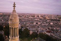 Widok Paryż, Francja w zmierzchu Obraz Royalty Free