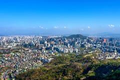 Widok pejzaż miejski i Seul górujemy w Seul, Południowy Korea Obrazy Royalty Free