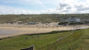 Widok Perranporth plaża zdjęcia royalty free