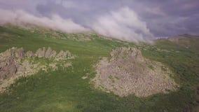 Widok piękny krajobraz z świeżymi zielonymi łąkami na słonecznym dniu klamerka Odgórny widok zielone góry na słonecznym dniu zbiory