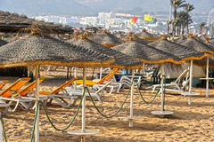 Widok piasek plaża na gorącym letnim dniu, Agadir, Maroko Zdjęcie Royalty Free