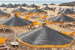 Widok piasek plaża na gorącym letnim dniu, Agadir, Maroko Zdjęcie Stock