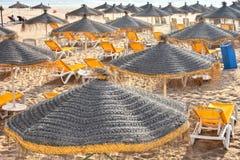 Widok piasek plaża na gorącym letnim dniu, Agadir, Maroko Fotografia Royalty Free