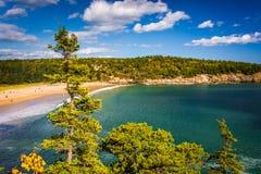 Widok piasek plaża przy Acadia parkiem narodowym, Maine Fotografia Stock