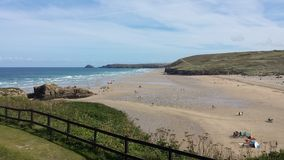 Widok piaskowata Perranporth plaża Obraz Stock