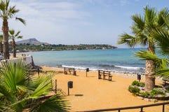 Widok piaskowata plaża blisko miasta Bagheria na 113 nat Zdjęcia Stock