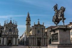 Widok piazza San Carlo w Turyn, Włochy Zdjęcie Royalty Free