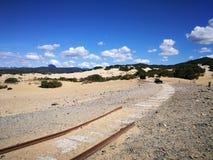 Widok piscyny Wydmowe w Sardinia, naturalna pustynia Zdjęcia Stock