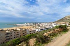 Widok plaża w Agadir mieście, Maroko Zdjęcie Stock