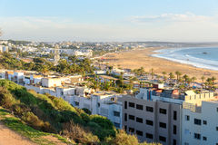 Widok plaża w Agadir mieście, Maroko Obraz Stock