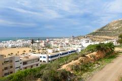 Widok plaża w Agadir mieście, Maroko Fotografia Royalty Free