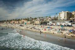 Widok plaża w oceanside, Kalifornia fotografia stock
