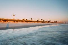 Widok plaża w palmy wybrzeżu, Floryda Zdjęcie Stock