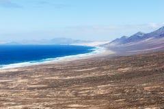 Widok plaża Cofete fuerteventura kanarowe wyspy Spain zdjęcia stock