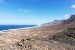 Widok plaża Cofete fuerteventura kanarowe wyspy Spain obrazy royalty free